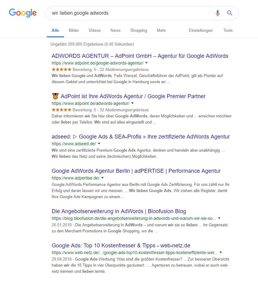 Wir lieben Google AdWords Screenshot Seite 1